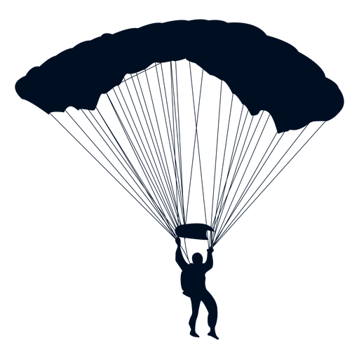 Man falling with parachute silhouette Transparent PNG