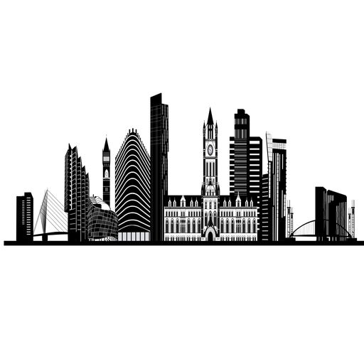 Manchester skyline silhouette Transparent PNG
