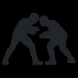Men wrestling silhouette