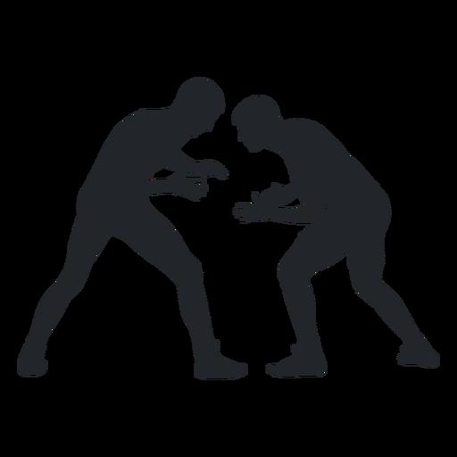 Hombres luchando silueta