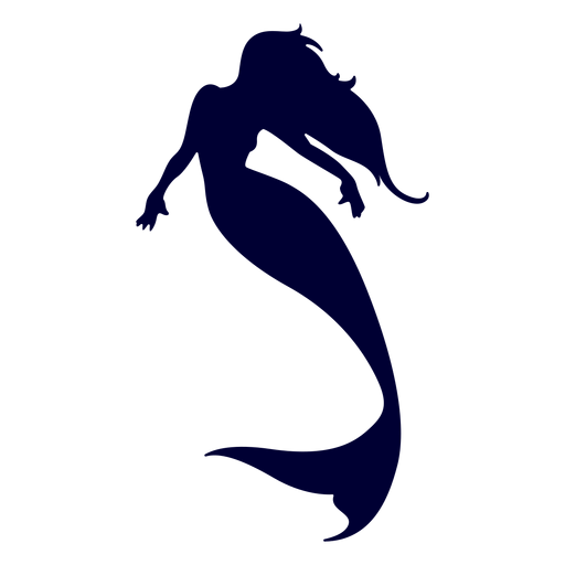 Silueta de sirena nadando Transparent PNG