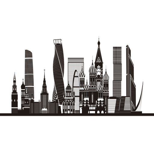 Moscow skyline silhouette Transparent PNG