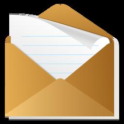 Icono de sobre abierto 3d
