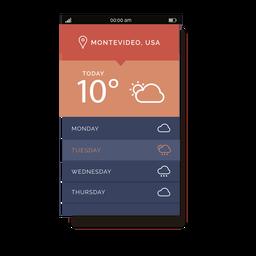 Interfaz móvil del servicio meteorológico naranja