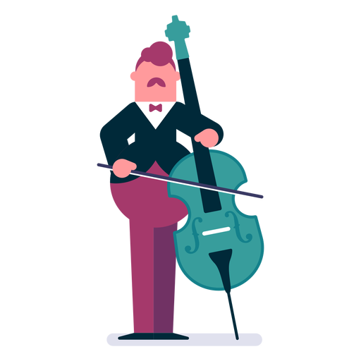Orchestra cellist cartoon Transparent PNG