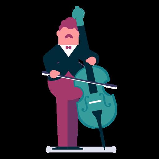 Orquesta violonchelista de dibujos animados. Transparent PNG
