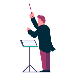 Desenhos animados de maestro de orquestra