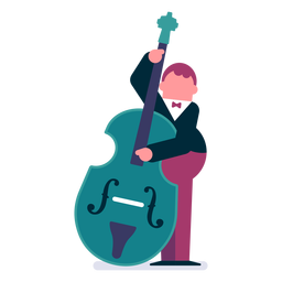Orchestra double bass player cartoon