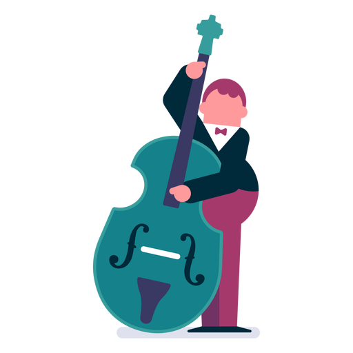 Orchestra double bass player cartoon Transparent PNG