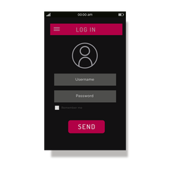 Pink login menu interface