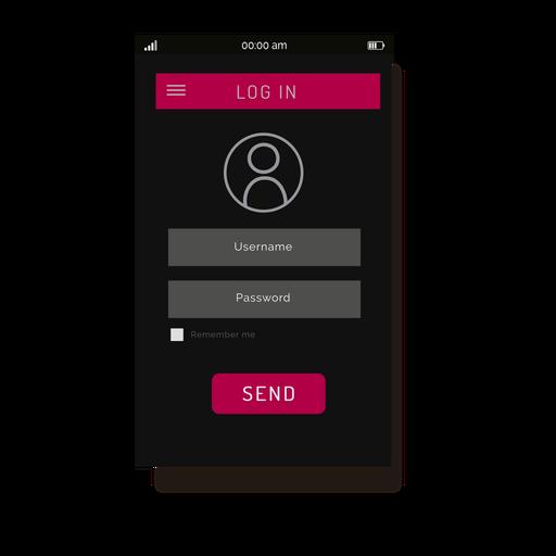 Pink login menu interface Transparent PNG