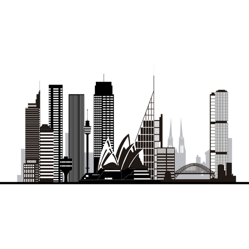 Sidney skyline silhouette Transparent PNG