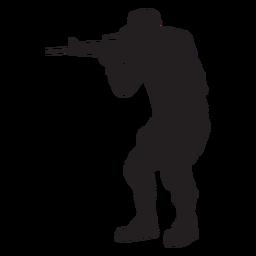 Soldado apontando com silhueta de rifle
