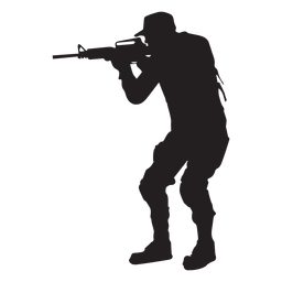 Soldier aiming with rifle silhouette