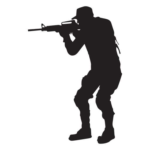 Soldier aiming with rifle silhouette Transparent PNG