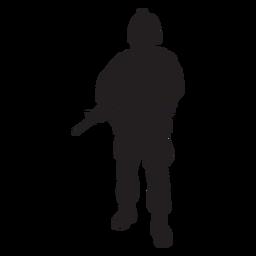 Soldado, segurando, rifle, silueta
