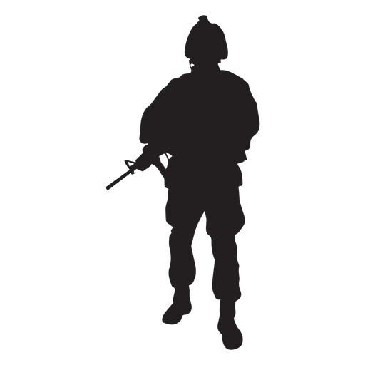 Soldier holding rifle silhouette Transparent PNG