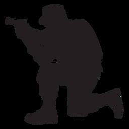 Soldado, ajoelhando, apontar silhueta