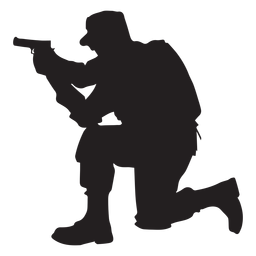 Soldier kneel aiming silhouette