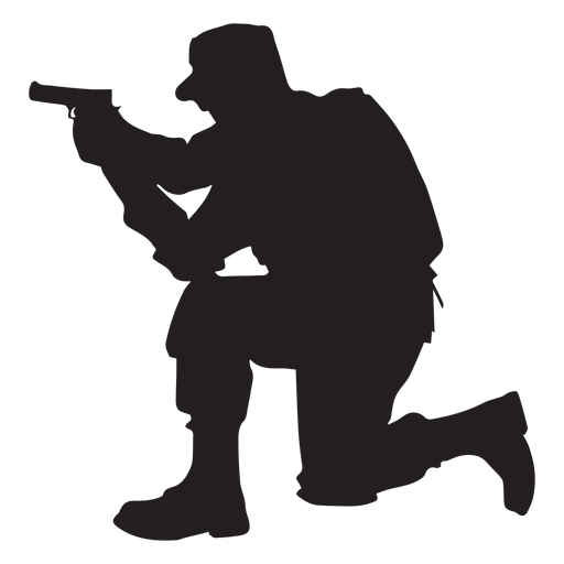 Soldier kneel aiming silhouette Transparent PNG