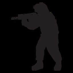 Soldado apuntando silueta de rifle