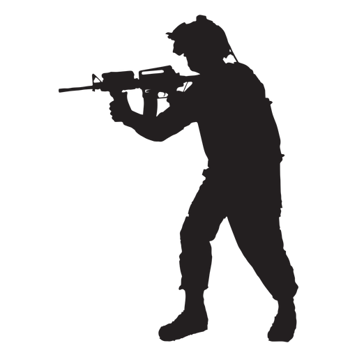 Soldier pointing rifle silhouette Transparent PNG