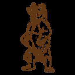 Desenhos animados do curso do urso marrom ereto