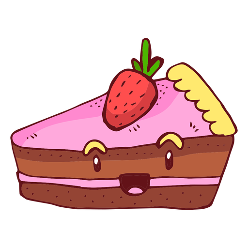 Strawberry cake character cartoon Transparent PNG