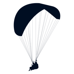 Tandem paragliding silhouette