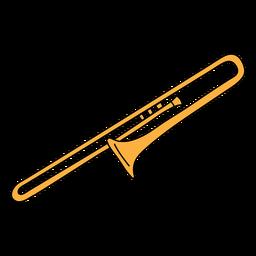 Doodle de instrumento musical de trombón.