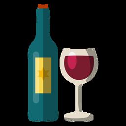 Botella de vino y cristal elemento hanukkah.