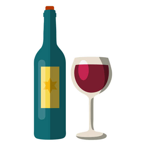 Wine bottle and glass hanukkah element Transparent PNG