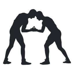 Wrestlers fighting silhouette