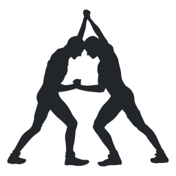 Wrestlers grappling hold silhouette