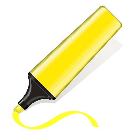Yellow text marker 3d icon Transparent PNG