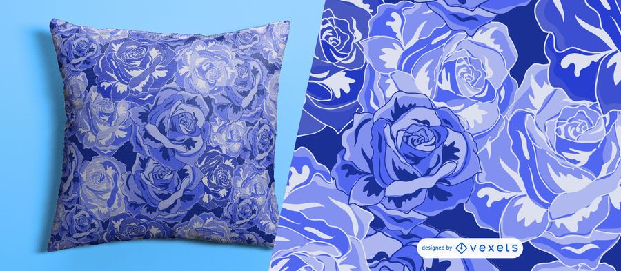 Blue roses seamless floral pattern