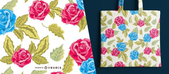 Red and blue roses seamless pattern