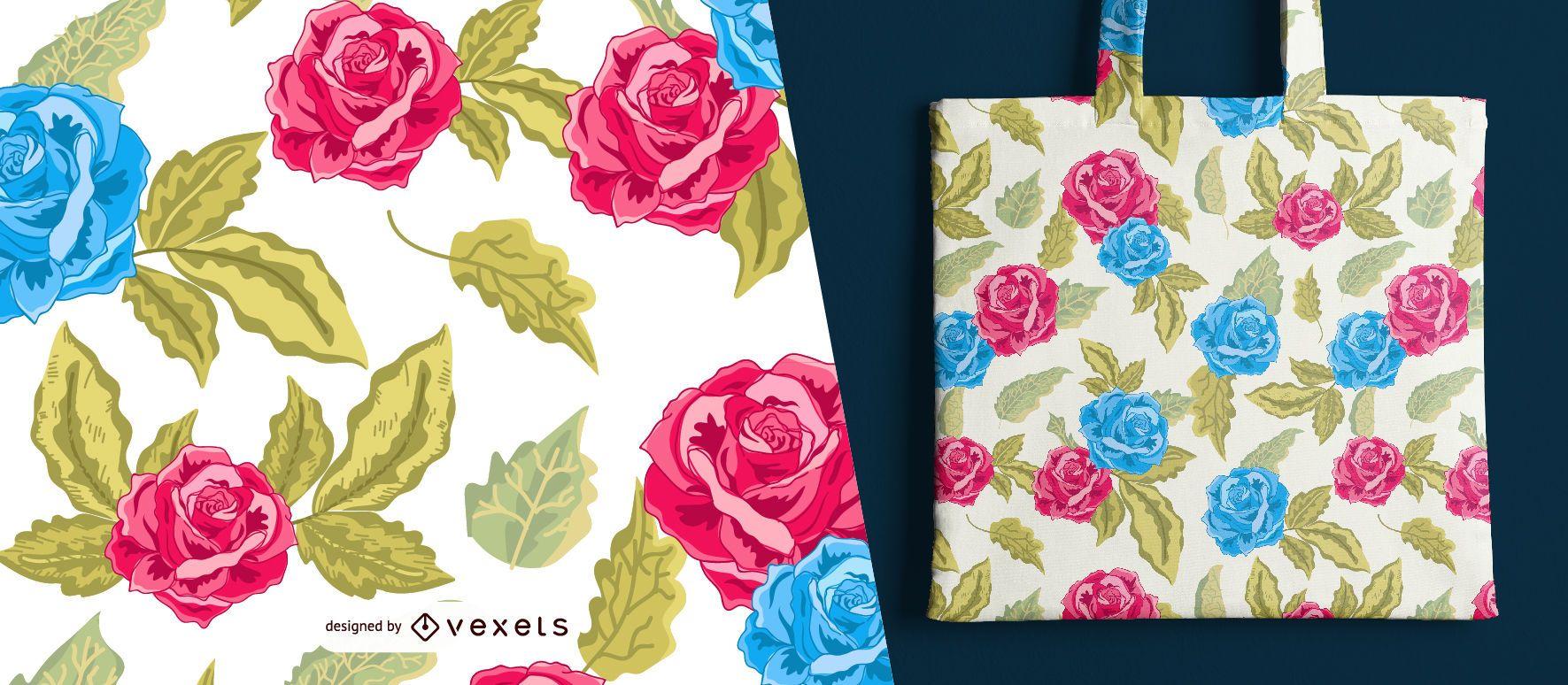 Patrón Sin Costuras Rosas Rojas Y Azules Descargar Vector