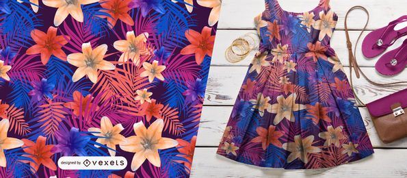 Lírios e folhas de palmeira padrão