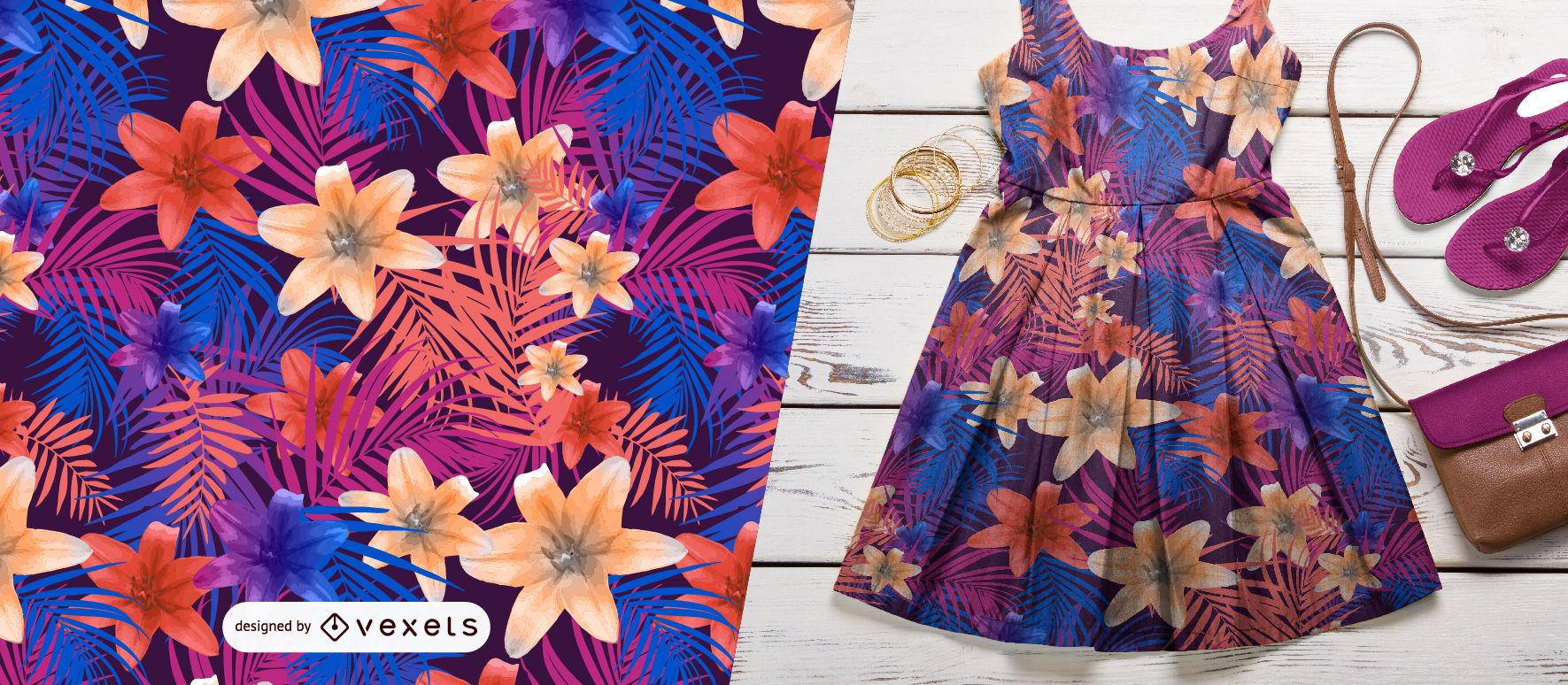 Lilies and palm leaves pattern