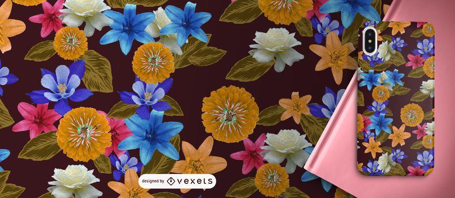 Padrão de flores exóticas