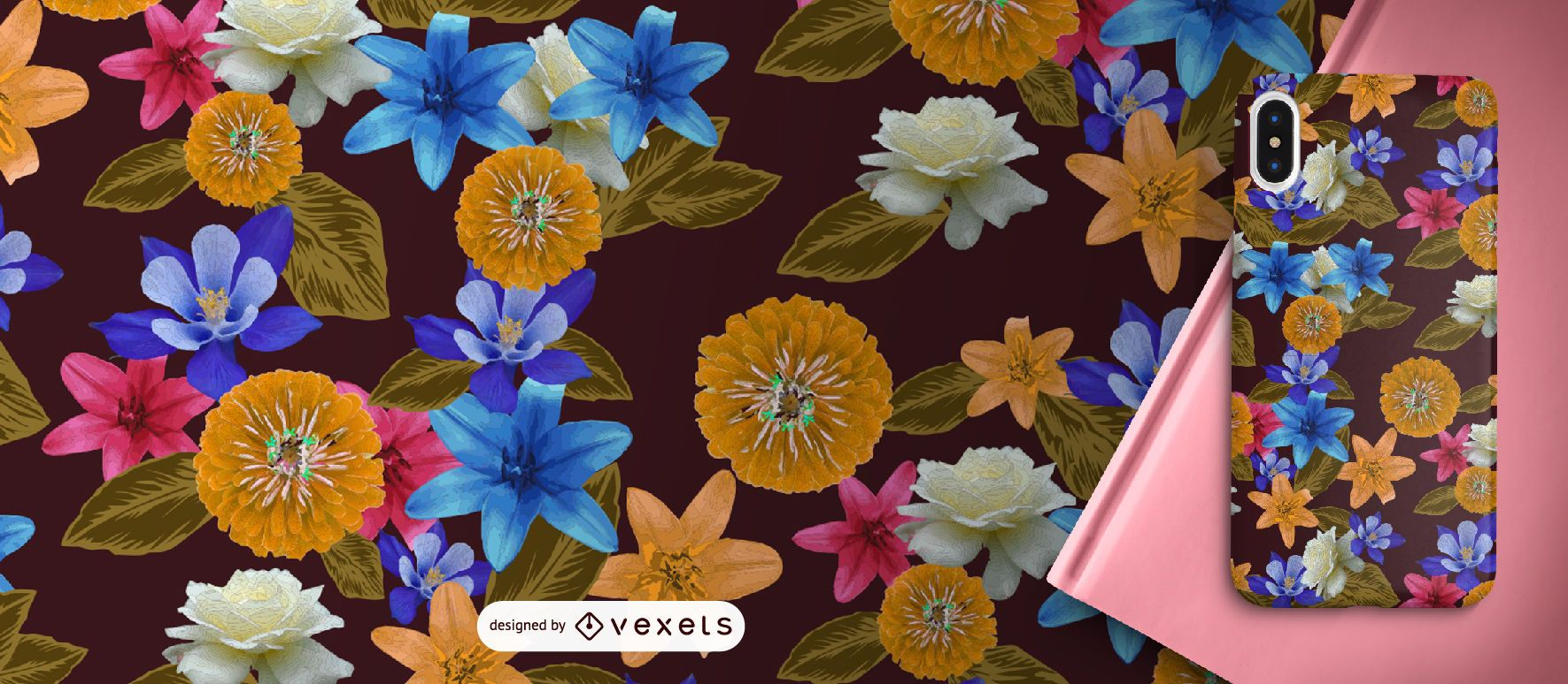 Exotic flowers pattern