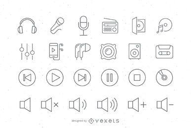 Conjunto de ícones de áudio de traçado