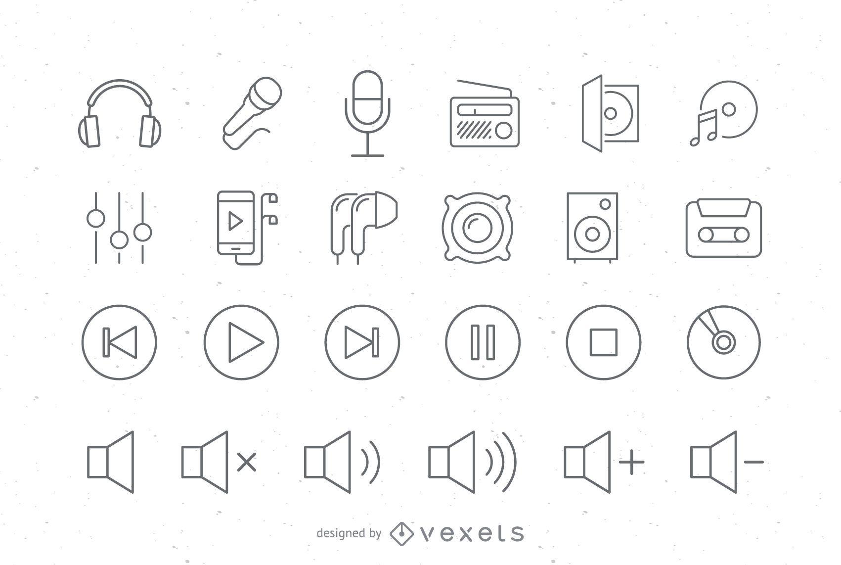 Conjunto de iconos de audio de trazo