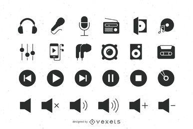 Conjunto de ícones plana de áudio