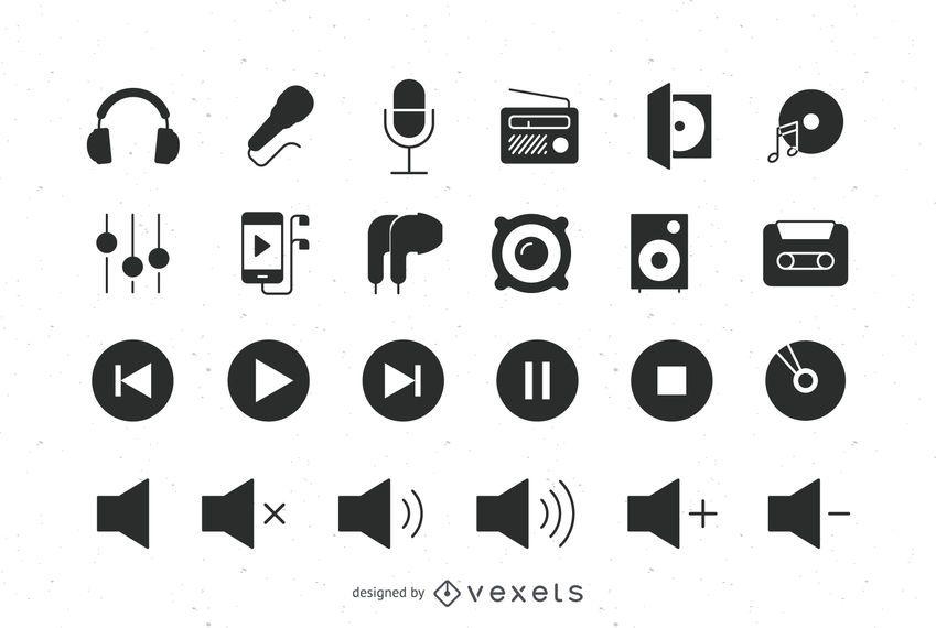 Audio flat icons set