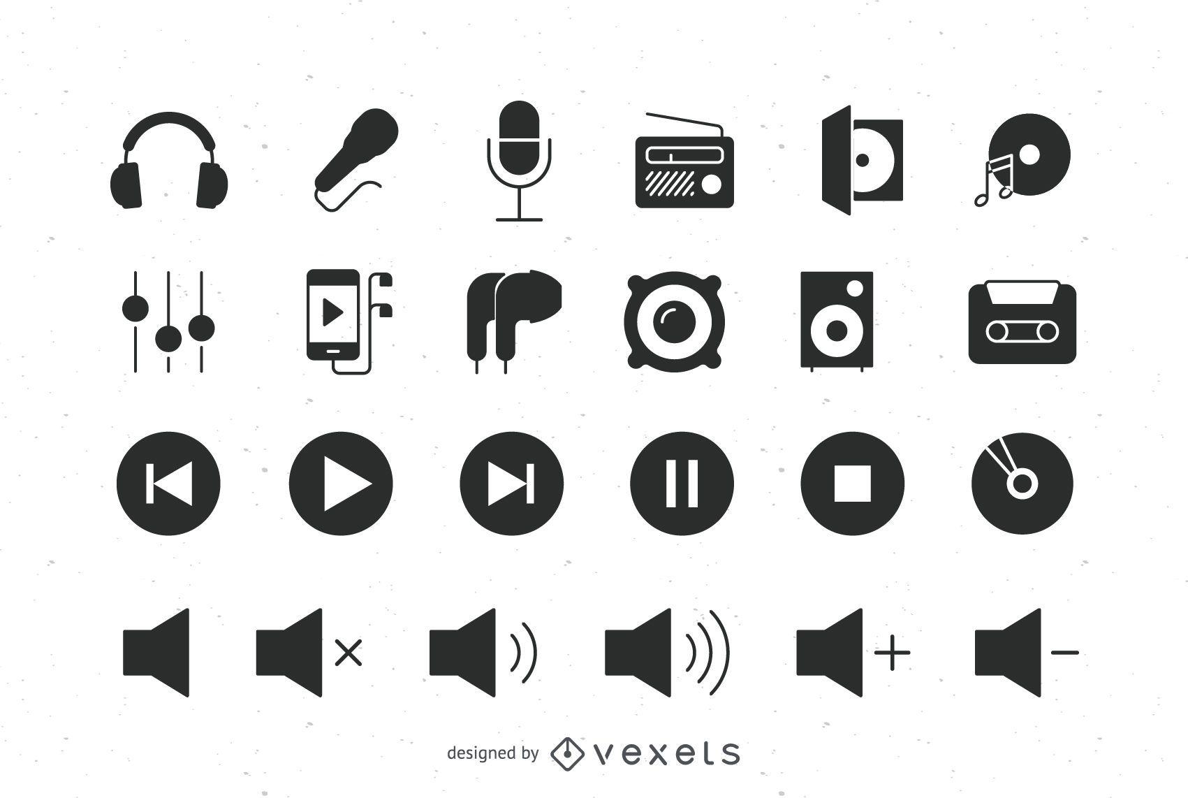 Conjunto de ícones planos de áudio
