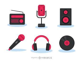 Conjunto de iconos de gadgets de música