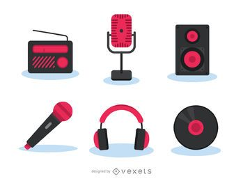 Music gadgets icon set