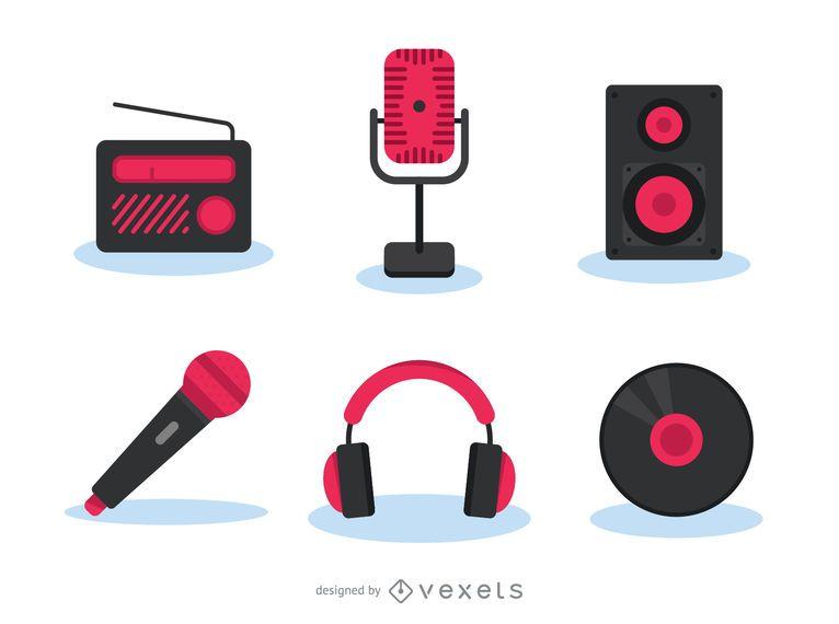 Conjunto de ícones de gadgets de música
